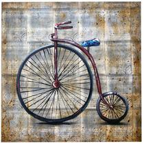 Cuadro Bicicleta Acrílicos Sobre Hojas De Libros Viejos
