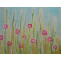 Pintura En Acuarela Sobre Tela Campo Con Flores 45x35x2cm.