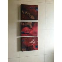 3 Piezas De Cuadros Pintados A Mano Modernos Artista Mex.