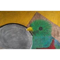 Quetzal - Dibujo Colores Pastel Sobre Papel Amate