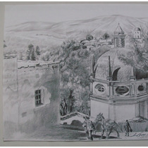 Dibujo A Lápiz, El Pocito De Agua Santa En Ocotlan Tlaxcala.