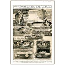 Evolución Submarinos 1775-1894, Grabado Inglés, Rare Vintage