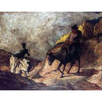 Lienzo En Tela Don Quijote Y Sancho Por Honoré Daumier 50x65