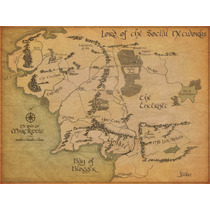 Mapa De Tierra Media El Señor De Los Anillos Arte Canvas