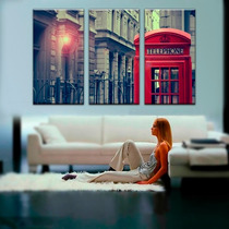 Imagen Londres Cabina Cuadro Canvas 3 Pzas 45 X 85 Cm C/u