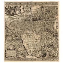 Mapa Continente Americano 1562 56 X 50 Cm Gran Detalle