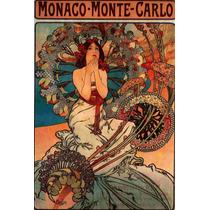 Cuadro Tela Art Deco Anuncio Mónaco Monte Carlo Mucha 1900