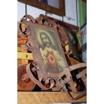 Antiguo Cuadro De Lamina Con Imagen Del Sagrado Corazon