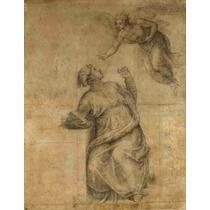 Cuadro Tela Dibujo Anunciación Virgen Miguel Ángel 66 X 50