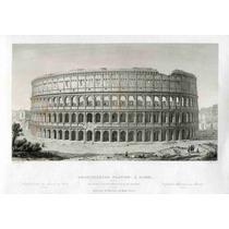 Cuadro En Tela Grabado S Xix Lateral Coliseo Romano 50 X 72