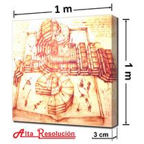 Lienzo En Cuadro. Leonardo Da Vinci, 1 X 1 M