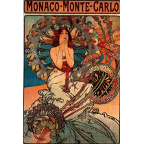 Lienzo Tela Art Deco Anuncio Mónaco Monte Carlo Mucha 1900