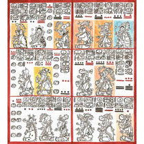 Lienzo Tela Códice Dresden Maya Siglo 12 Pag 8-9 50 X 46 Cm