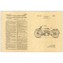 Lienzo Tela Patente 1919 Motocicleta Harley Davidson 90 X 60