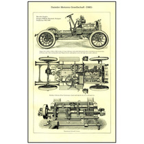 Lienzo Dibujo Técnico Daimler Mercedes Simplex Año 1906