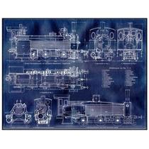 Lienzo Grabado Blueprint Locomotora Aleman 1880 55x72 Dibujo