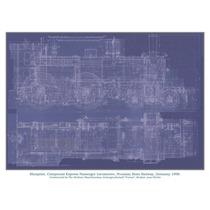 Blueprint Locomotora Alemana 1898 Grabado Alemán Muy Raro