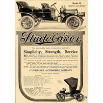 Lienzo En Tela Anuncio Automóvil Studebaker 1907 70 X 50 Cm