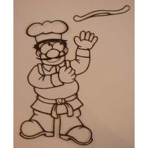 Figuras Chef Con Pizza Cocina Decoracion Metal
