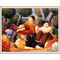 Lienzo-tela, Guerrillas, Fernando Botero, 60 X 80 Cm