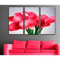 Imagen Flores Decoración Cuadro Canvas 3 Pzas 45 X 85 Cm C/u