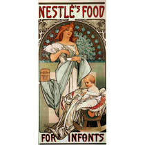 Lienzo Tela Art Deco Anuncio Nestle Mucha 1897 90 X 43 Cm