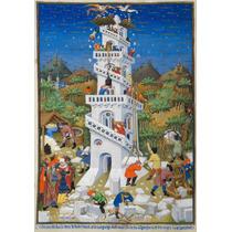 Lienzo Tela Portada Libro Medieval Torre De Babel 72 X 50 Cm