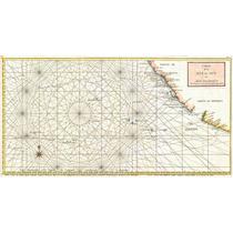 Lienzo Tela Carta Marítima Manila Acapulco 1750 46 X 90 Cm