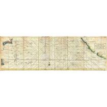 Lienzo Tela Carta Marítima Manila Acapulco 1748 30 X 90 Cm
