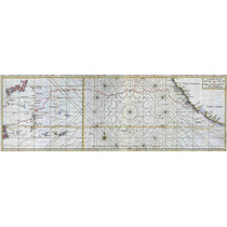 Lienzo Tela Carta Marítima Ruta Manila Acapulco 1748 33x90cm