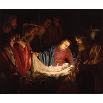 Lienzo Tela Adoración Al Niño Dios 73 X 80 Cm. Arte Sacro