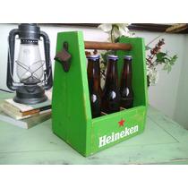 Caja Six De Madera Cervezas Heineken Destapador Refrescos