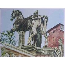 Lienzo Tela Acuarela Estatua Caballo Stanislaw Maslowski