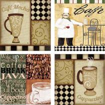 Juego De 4 Cuadros Decorativos Originales, Cafe