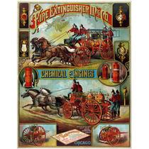 Lienzo Tela Carro De Bomberos Chicago 1890 64 X 50 Cm Poster
