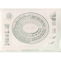 Lienzo Tela Grabado Siglo 19 Aérea Coliseo Romano 50 X 70 Cm