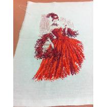 Cuadro En Punto De Cruz Mujer Con Vestido Rojo De Carnaval