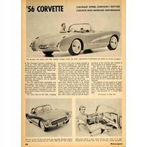 Lienzo Tela Anuncio Automóvil Corvette V8 225 Hp 1956 70x50
