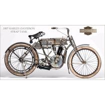 Lienzo Tela Poster Motocicleta Harley Davidson 1907 80x150