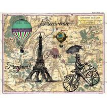 Lienzo Tela Torre Eiffel, Vintage Y Art Deco 70 X 90 Cm
