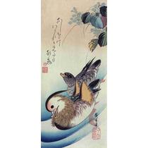 Lienzo Tela Escuela Utagawa Pato Mandarín Japón 90x42cm