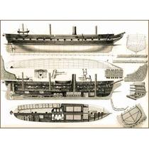Lienzo Tela Barco Cañonero Alemán Vapor Y Velas 1890 50 X 69