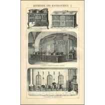 Lienzo Tela Grabado Equipo Cocinas Antiguas 1890 80 X 50 Cm