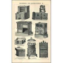 Lienzo Tela Grabado Equipo Cocinas Antiguas 2 1890 80x50 Cm