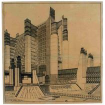 Lienzo Tela Planos Arquitectura 1914 Sant Elia 51 X 50 Cm