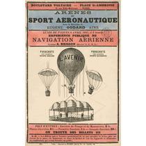 Lienzo Tela Vuelo Globo Aeroestático Paris 1885 76 X 50 Cm