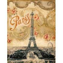 Lienzo Tela Torre Eiffel, Vintage Y Art Deco 65 X 85 Cm