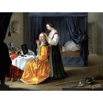 Lienzo Tela Dama En Tocador Europa Siglo 19 Salón De Belleza