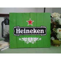Cuadro Letrero Anuncio Vintage Heineken Cerveza Madera Bar