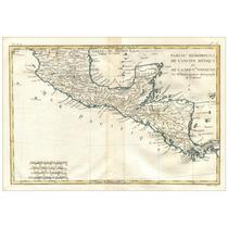 Lienzo Mapa México Centro América 1754 Grabado Francés Raro